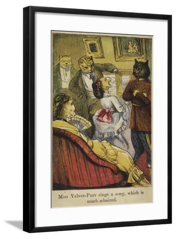 Miss Velvet-Purr Sings a Song--Framed Art Print