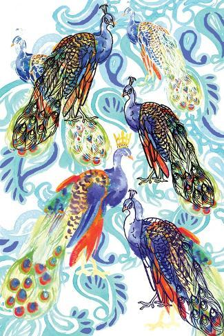 Paisley Peacock, 2013-Anna Platts-Stretched Canvas Print