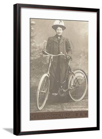 Woman with a Bicycle--Framed Art Print