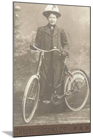 Woman with a Bicycle--Mounted Photographic Print