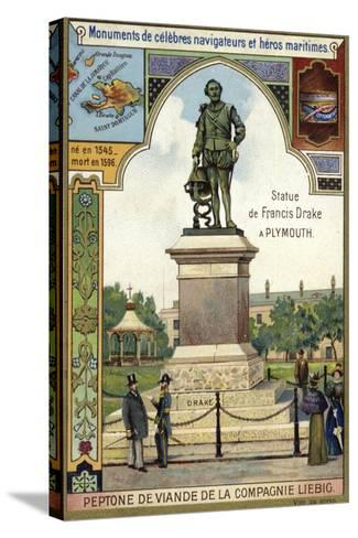 Statue of Sir Francis Drake, Plymouth--Stretched Canvas Print