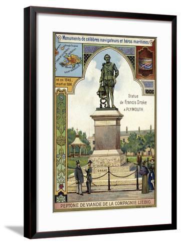 Statue of Sir Francis Drake, Plymouth--Framed Art Print