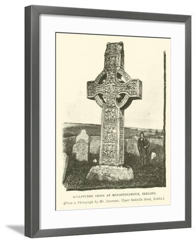 Sculptured Cross at Monasteraboice, Ireland--Framed Art Print
