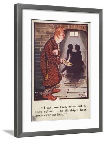 Man Talking to Romantic Couple in Cellar--Framed Art Print