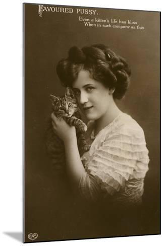 Girl with Kitten--Mounted Photographic Print