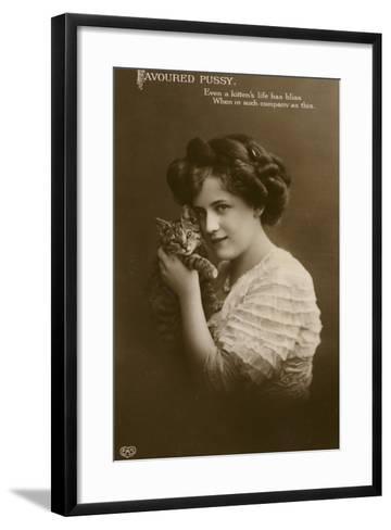 Girl with Kitten--Framed Art Print
