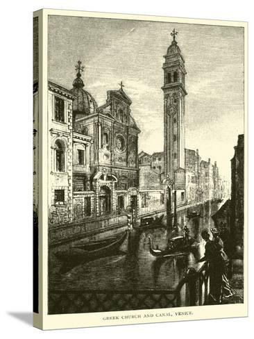 Greek Church and Canal, Venice--Stretched Canvas Print