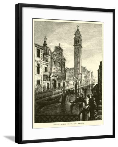 Greek Church and Canal, Venice--Framed Art Print