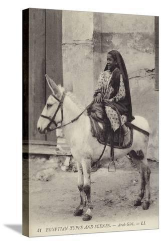 Arab Girl Riding a Donkey--Stretched Canvas Print