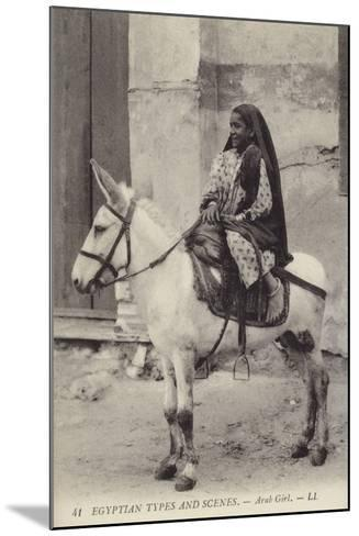 Arab Girl Riding a Donkey--Mounted Photographic Print