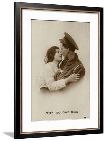 When You Come Home. a Soldier and His Swetheart--Framed Art Print