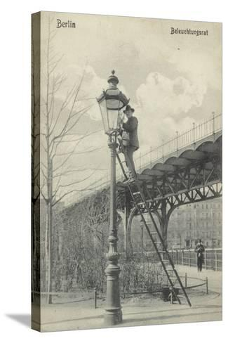Berlin, Lighting the Gas Lights--Stretched Canvas Print