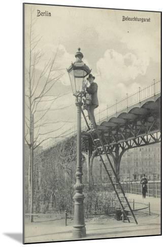 Berlin, Lighting the Gas Lights--Mounted Photographic Print