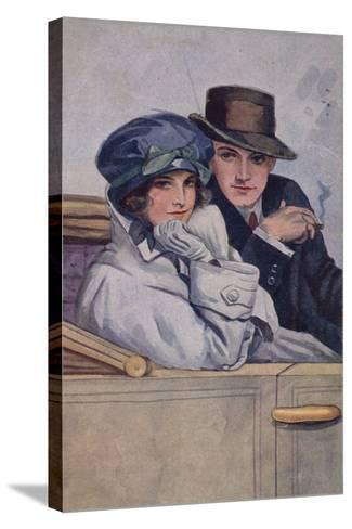 Couple Sitting in a Car--Stretched Canvas Print
