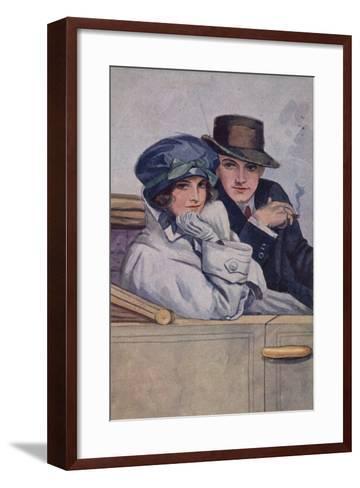 Couple Sitting in a Car--Framed Art Print