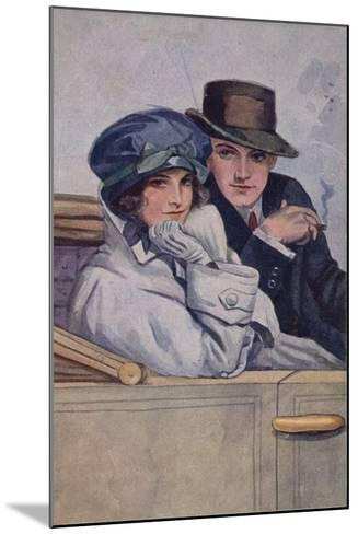 Couple Sitting in a Car--Mounted Giclee Print