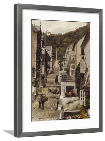 High Street, Clovelly, Devon--Framed Art Print
