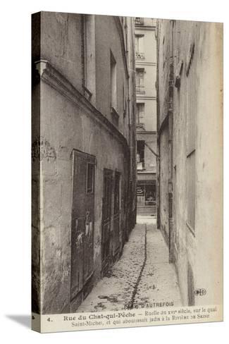 Postcard Depicting Old Paris--Stretched Canvas Print