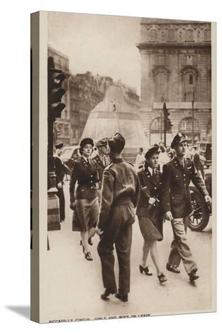 Piccadilly Circus, Girls and Boys on Leave--Stretched Canvas Print