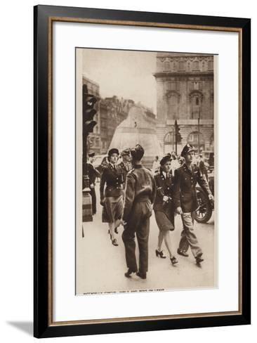 Piccadilly Circus, Girls and Boys on Leave--Framed Art Print