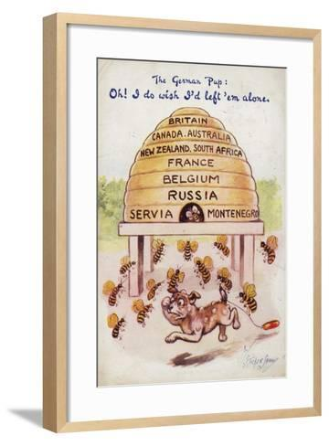 A German Puppy Being Stung by Allied Bees--Framed Art Print