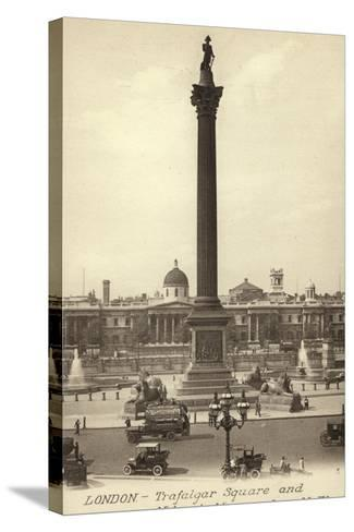 London, Trafalgar Square and Nelson's Monument--Stretched Canvas Print