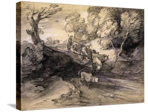 Wooded Landscape with Herdsman and Cattle, C.1775-Thomas Gainsborough-Stretched Canvas Print