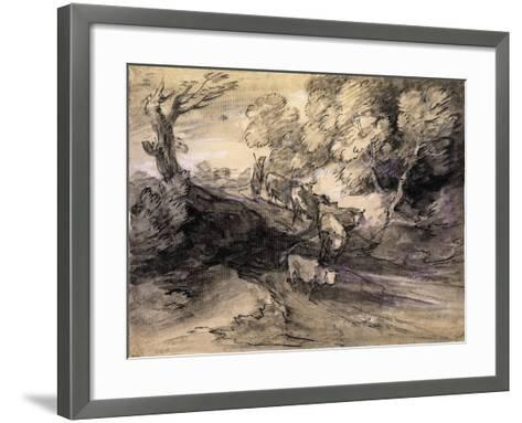 Wooded Landscape with Herdsman and Cattle, C.1775-Thomas Gainsborough-Framed Art Print
