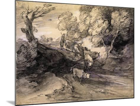 Wooded Landscape with Herdsman and Cattle, C.1775-Thomas Gainsborough-Mounted Giclee Print