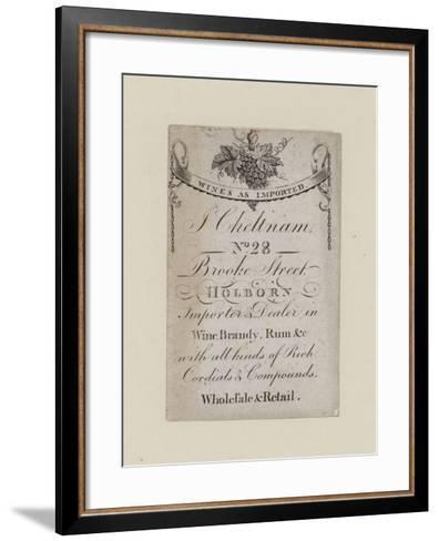 Wine Mercants, J Cheltnam, Trade Card--Framed Art Print