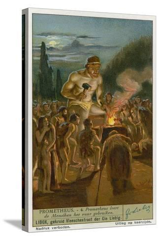 Prometheus Teaching Man How to Use Fire--Stretched Canvas Print