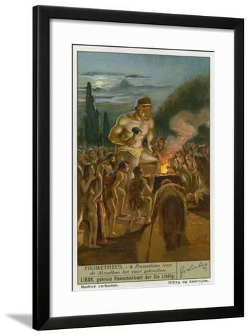 Prometheus Teaching Man How to Use Fire--Framed Art Print