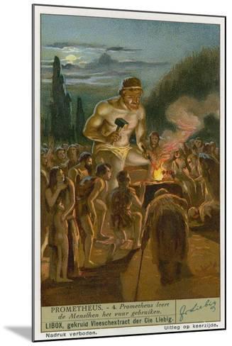 Prometheus Teaching Man How to Use Fire--Mounted Giclee Print