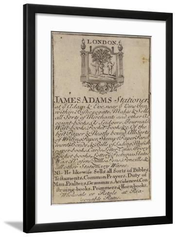 Stationers, James Adams, Trade Card--Framed Art Print