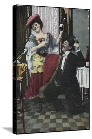 A Well-Dressed Couple Pictured Laughing--Stretched Canvas Print