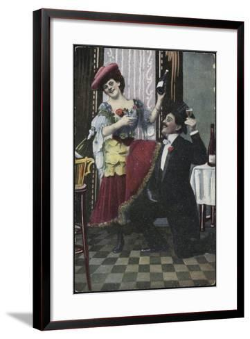 A Well-Dressed Couple Pictured Laughing--Framed Art Print