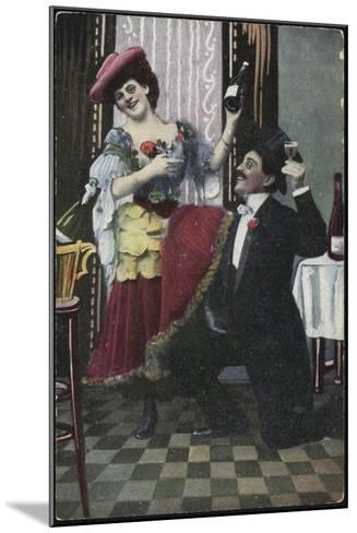 A Well-Dressed Couple Pictured Laughing--Mounted Giclee Print