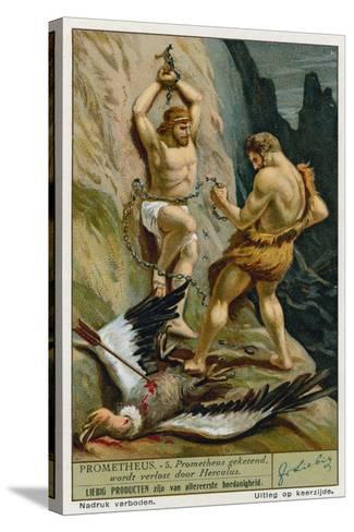 Prometheus Relaeased from His Chains by Hercules--Stretched Canvas Print