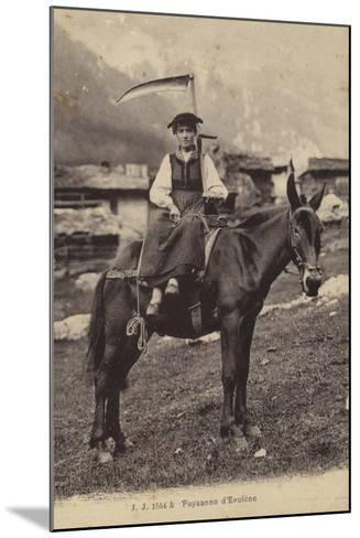 Peasant Girl of Evolene, Switzerland--Mounted Photographic Print