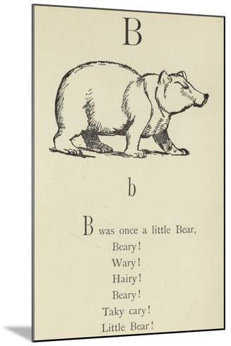 The Letter B-Edward Lear-Mounted Giclee Print