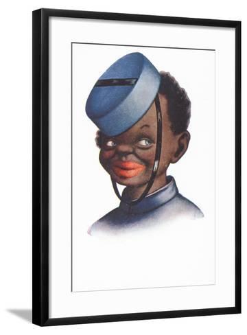 Caricature Portrait of a Black Bellboy--Framed Art Print