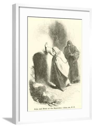 John and Peter at the Sepulchre, John, XX, 2, 5--Framed Art Print