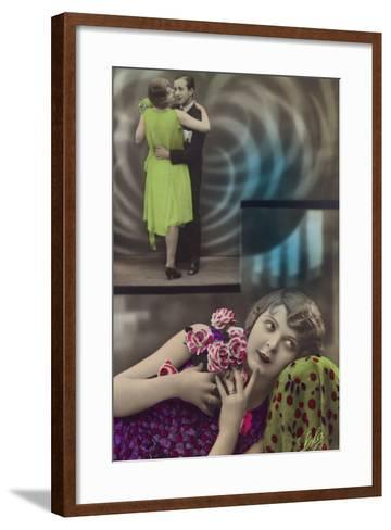 A Young Woman Daydreams About Dancing with a Man--Framed Art Print