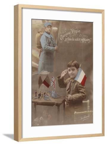 Like Father I Give the Military Salute--Framed Art Print
