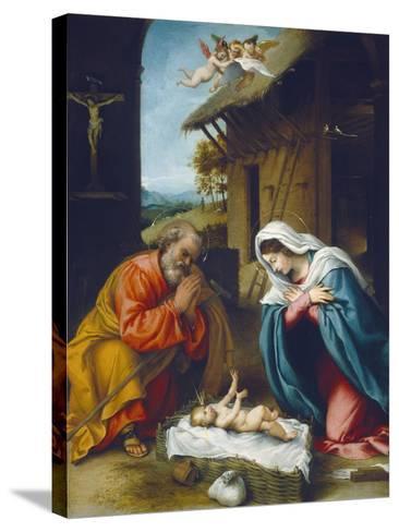 The Nativity, 1523-Lorenzo Lotto-Stretched Canvas Print