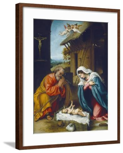 The Nativity, 1523-Lorenzo Lotto-Framed Art Print