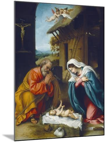 The Nativity, 1523-Lorenzo Lotto-Mounted Giclee Print