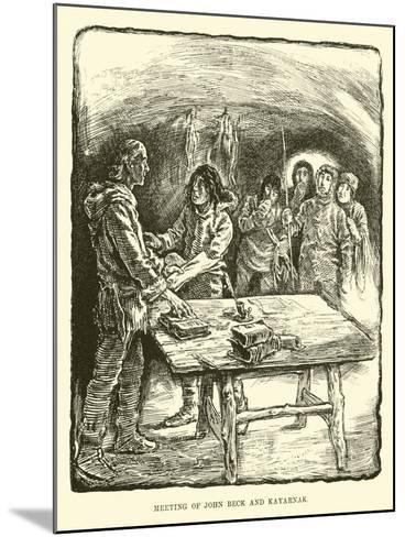 Meeting of John Beck and Kayarnak--Mounted Giclee Print
