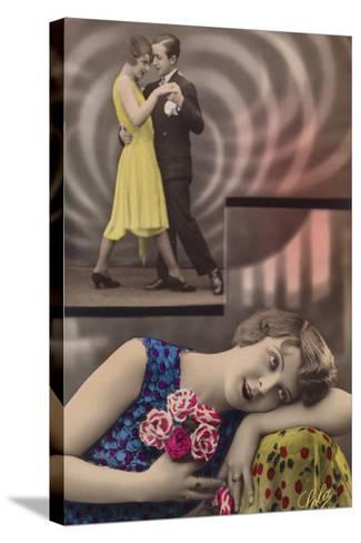 A Young Woman Daydreams About Dancing with a Man--Stretched Canvas Print