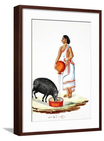 Feeding a Wild Pig--Framed Art Print